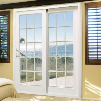 Marvelous The MasterPiece In. Composite White Right Hand Smooth Interior With 15 Lite  External Grilles Sliding Patio Door Is Made Of Durable And Weather  Resistant ...