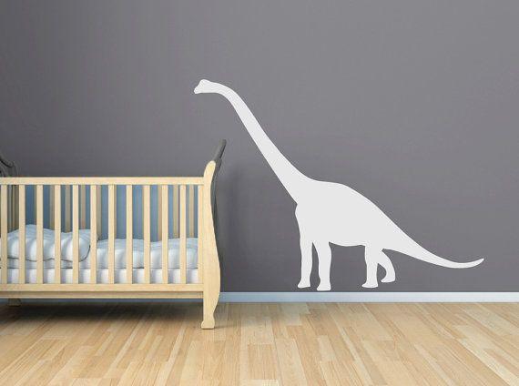 Dinosaur Wall Decal - Large Oversized Dinosaur Decal - Peeking Crib Wall Decal - Brontosaurus, Brachiosaurus -  Boy Nursery - CB151 via Etsy