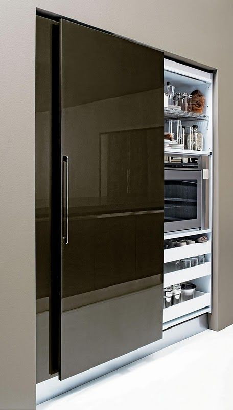 sliding fridge door provides easy access and allows enhanced traffic flow around it:
