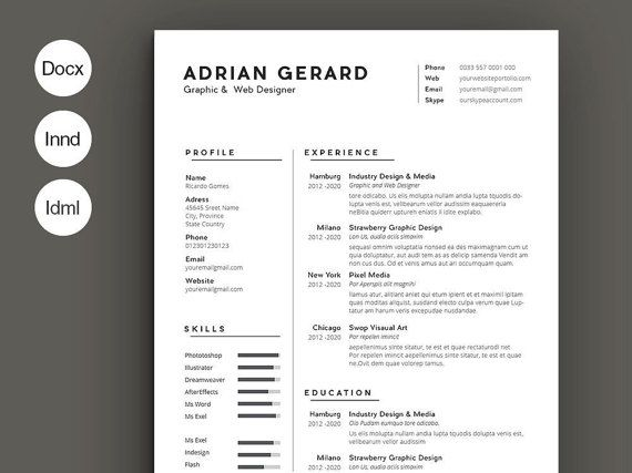 Minimal resume by ResumeTools on Etsy