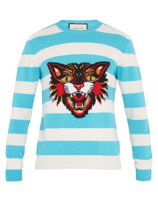 340a8e15c0a Gucci Angry Cat-intarsia striped wool sweater
