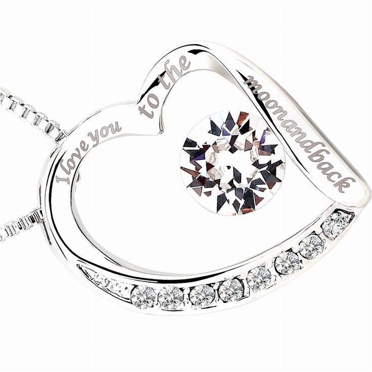 Necklace Gift for Her I Love You Heart Pendant Birthday Wife Mom Rhodium Plated #7jewelzUSA