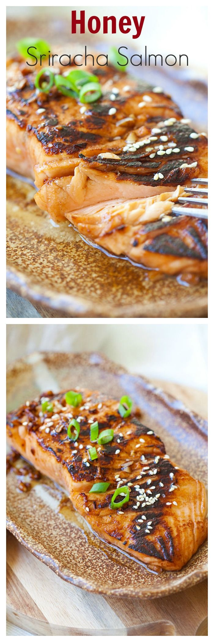 Sweet & Spicy Sriracha-glazed Salmon in the @skinnytaste cookbook. Moist, juicy, and so yummy | rasamalaysia.com