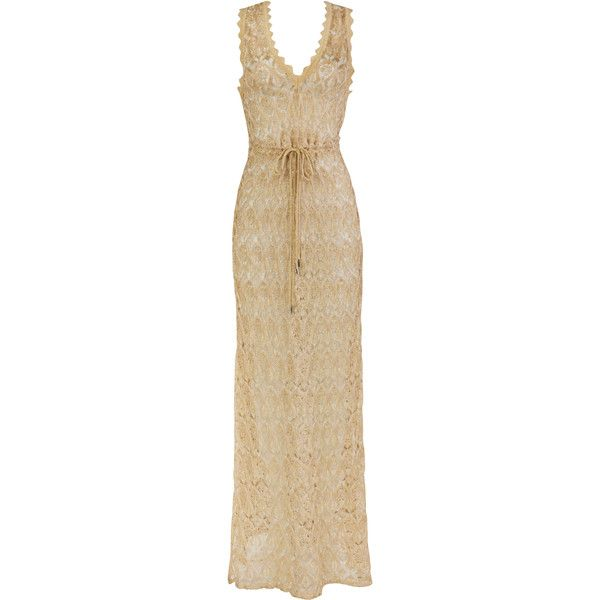 Lolitta Lina V Neck Long Dress ($2,605) ❤ liked on Polyvore featuring dresses, gowns, gold, gold evening dresses, long gold dress, v neckline dress, v neck gown and gold gown