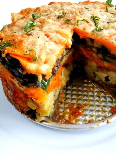 Recently I made a vegetable torta using a springform pan and Roasted vegetables.  The bottom was sweet potato slices, with mushrooms, onions, carrots, parsnips, beets, roasted butternut squash and spinach (squeezed very dry). Sprinkle layers with parm cheese and bread crumbs. Place on baking sheet, cover with greased parchment, and a cast iron skillet on top. Roast at 425, 30 minutes, remove skillet and paper, sprinkle with parm cheese, roast another 15 minutes till golden. rest 30 minutes.