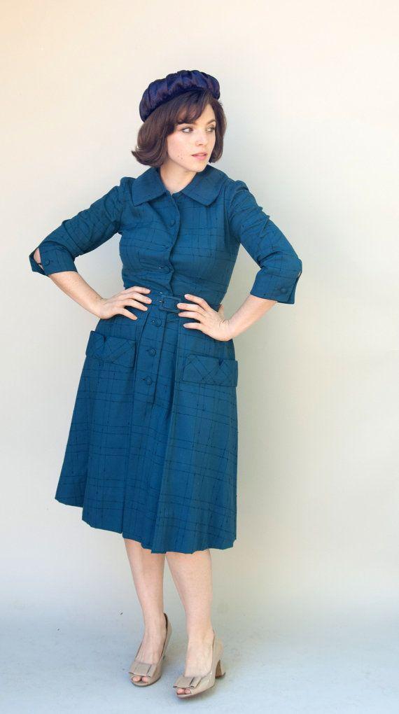 Vintage 1950s Dress  Anne of Avonlea  Navy by WildHoneyPieVintage, $118.00