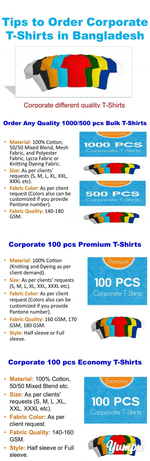 Tips to Order Corporate T-Shirts in Bangladesh - Magazine with 7 pages: Everyone need to find out the best corporate t-shirts wholesaler in Bangladesh for make their office program t-shirts or any event t-shirts. To order some corporate t-shirts, you may know some important matter as like as Material, Size, Fabric Color, Fabric Quality, Style and also Art Work Color.