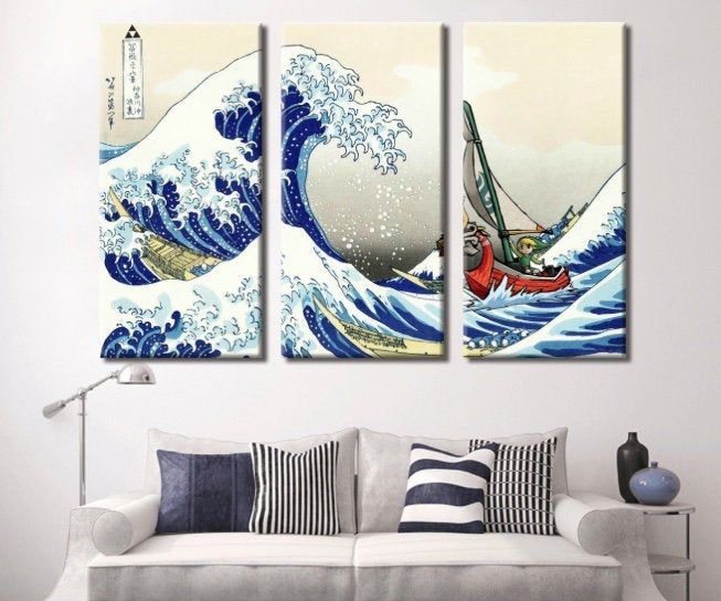 The Legend Of Zelda Windwaker The Great Wave Off Kanagawa Etsy Multi Panel Wall Art Great Wave Great Wave Off Kanagawa