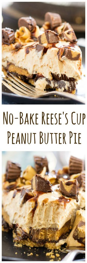 A super simple no bake peanut butter pie recipe, amped up with chocolate fudge and a TON of Reese's cups. Prep it in 10!!!