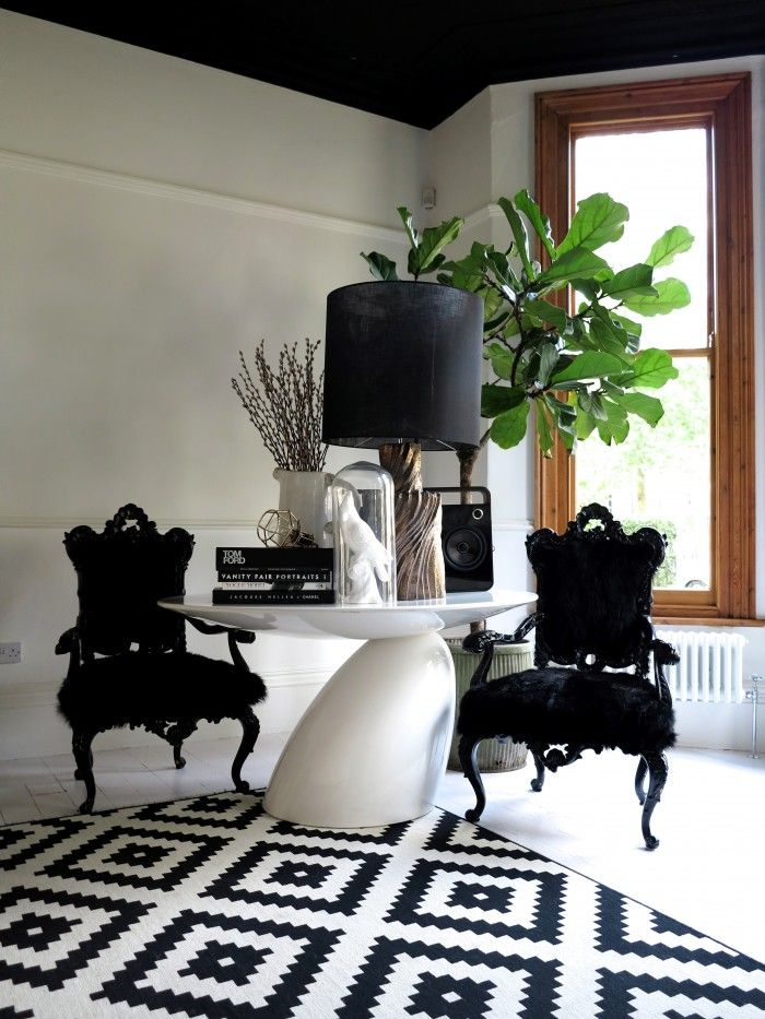 Geometric French Prov Chair Black And White Fiddleleaf