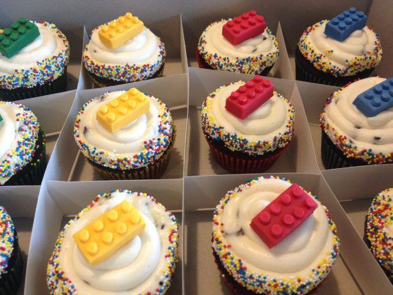 Lego Cupcake Toppers 24 count by CupcakeCouture365 on Etsy