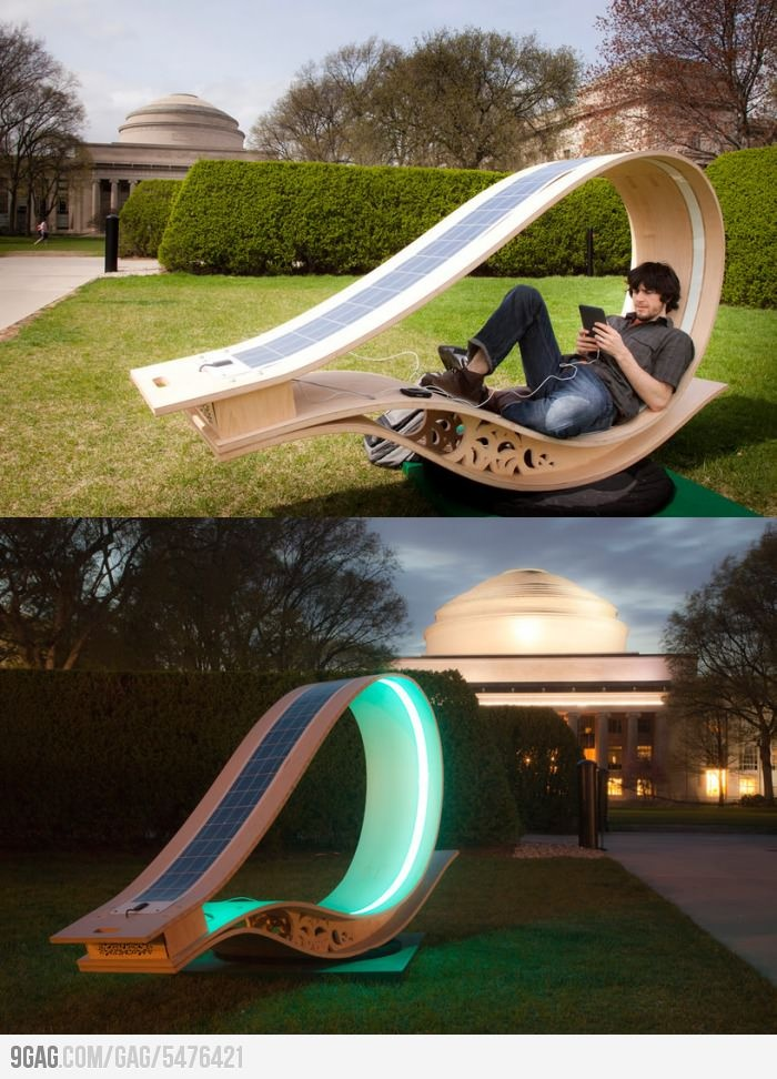 Solar powered sun lounger