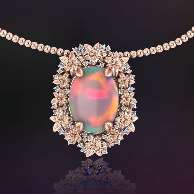 Lant si pandantiv din aur roz cu diamante si opal.