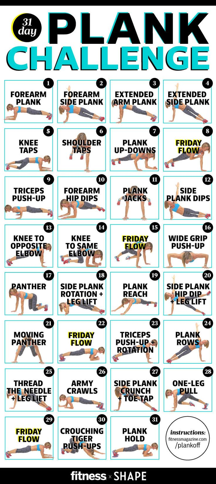 Master our plank challenge for a seriously stronger core in just one month. Each move is designed to get you in bikini body shape—stat.