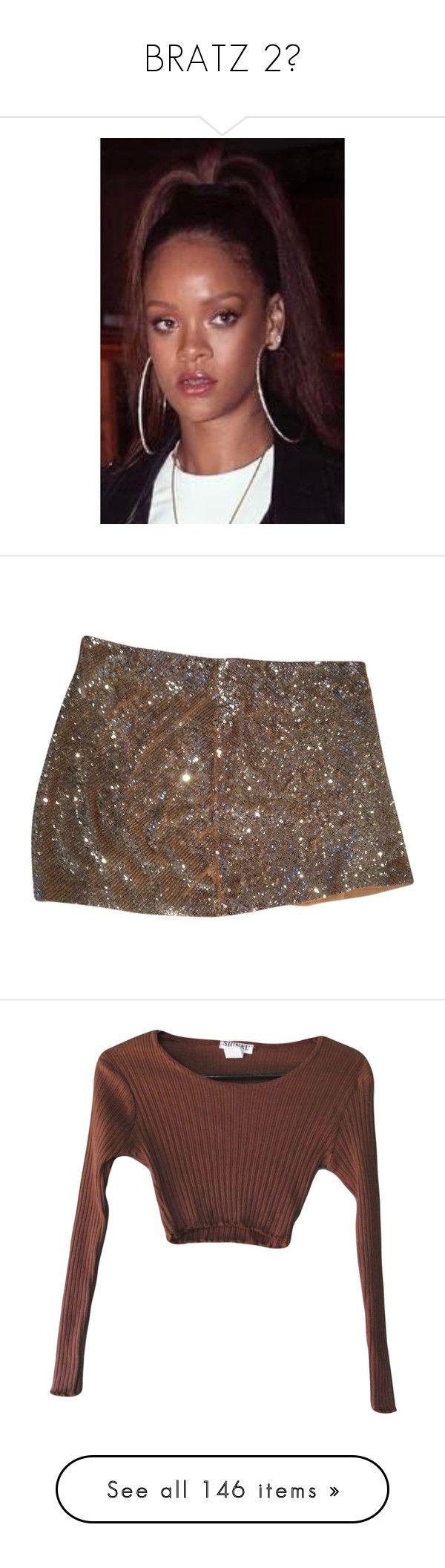 """BRATZ 2💋"" by theindigochild ❤ liked on Polyvore featuring skirts, mini skirts, bottoms, pants, silver sequin, brown skirt, short mini skirts, haute hippie, brown mini skirt and haute hippie skirt"