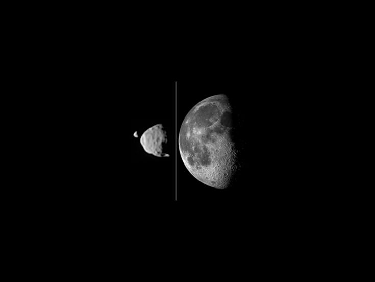 Illustration comparing apparent sizes of moons between Mars's Deimos, Phobos and Earth's Moon