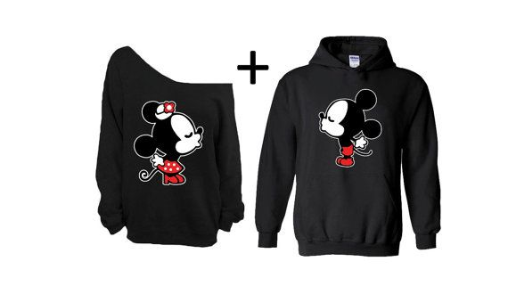 Cartoon Kissing Couple Hoodie Off Shoulder by FashionHolicClothing