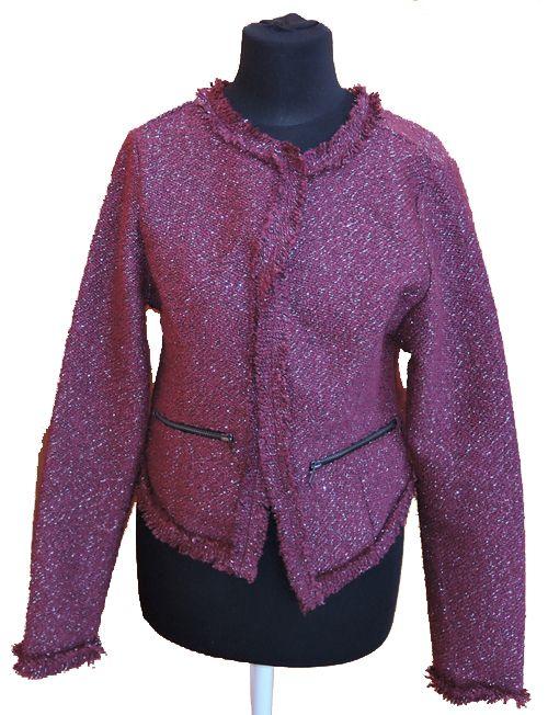 BRUMLA.CZ – Značkový dětský a dospělý second hand a outlet, použité oděvy pro děti a dospělé - Dámský vínový pletený kabátek vel. M