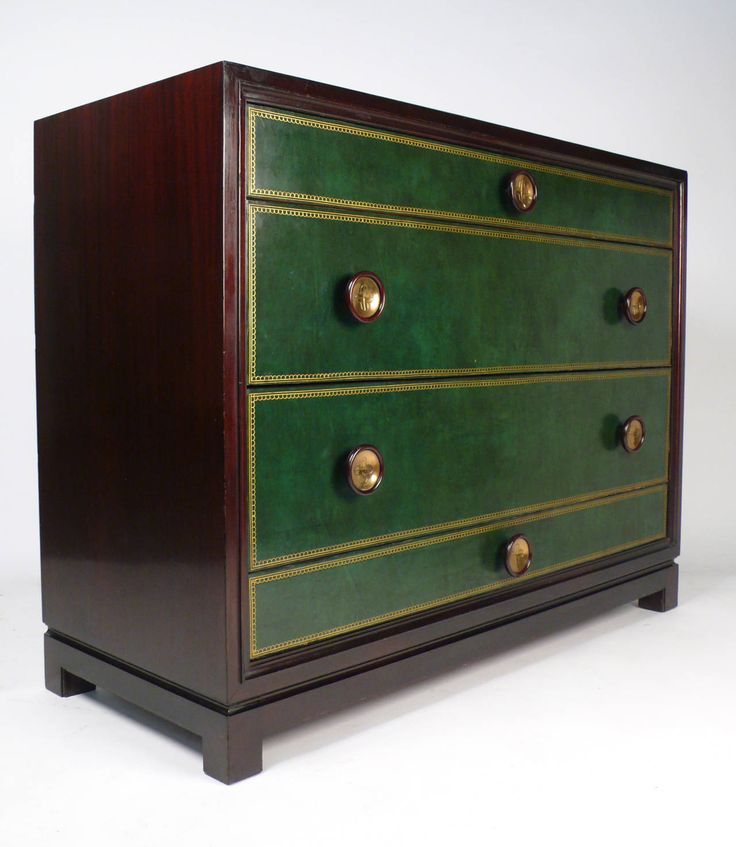 Tommi Parzinger Hand-Tooled Leather Cabinet | 1stdibs.com