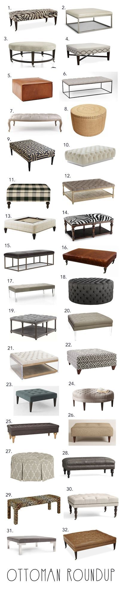 As Henry becomes more mobile I have started looking for a good cocktail ottoman to replace my brass and glass coffee table a.k.a. The Baby Guillotine. We use lots of ottomans like this in our designs