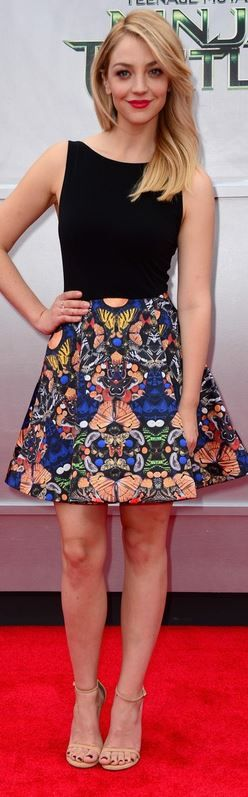 Black top and blue butterfly print skirt