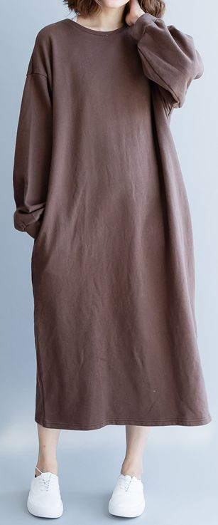 96fea9af11fd Fine chocolate cotton maxi dress plus size clothing warm traveling clothing  top