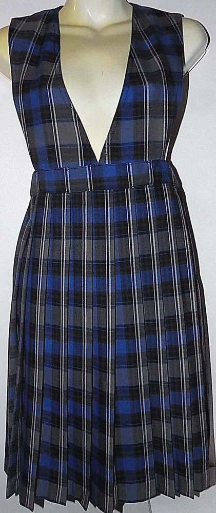 Blue and White Plaid V-Neck Pleated Skirt Jumper Uniform French Toast S-10us #FrenchToast #JumperDress