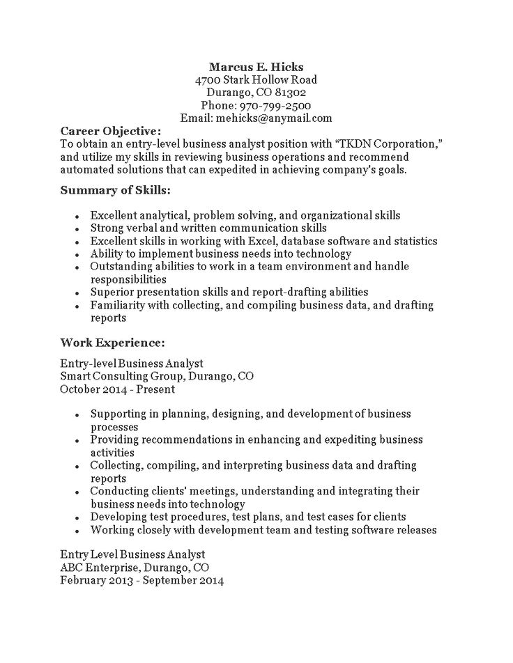 Entry Level Business Analyst Resume Templates At