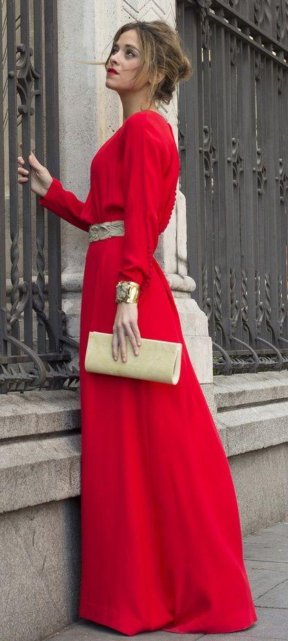 elegant red maxi dress