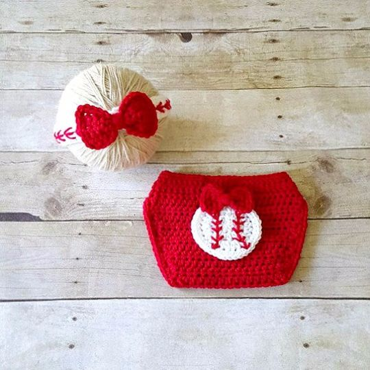 Crochet Baby Baseball Headband Hair Accessory Girl Bow Red Diaper Cover Sports Set Newborn Infant Photography Photo Prop Baby Shower Gift