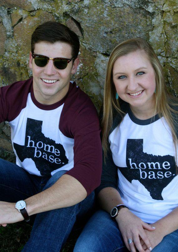Medium TEXAS HOME BASE Cotton Baseball T-shirt for men and women in Burgundy Truffle. State design silkscreen in distressed black.