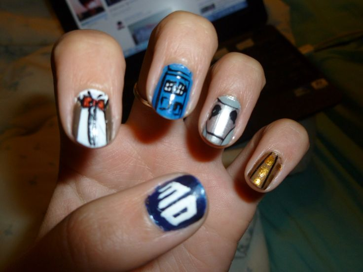 Doctor Who nail art (submitted bygoodmorningwormyourhonour)