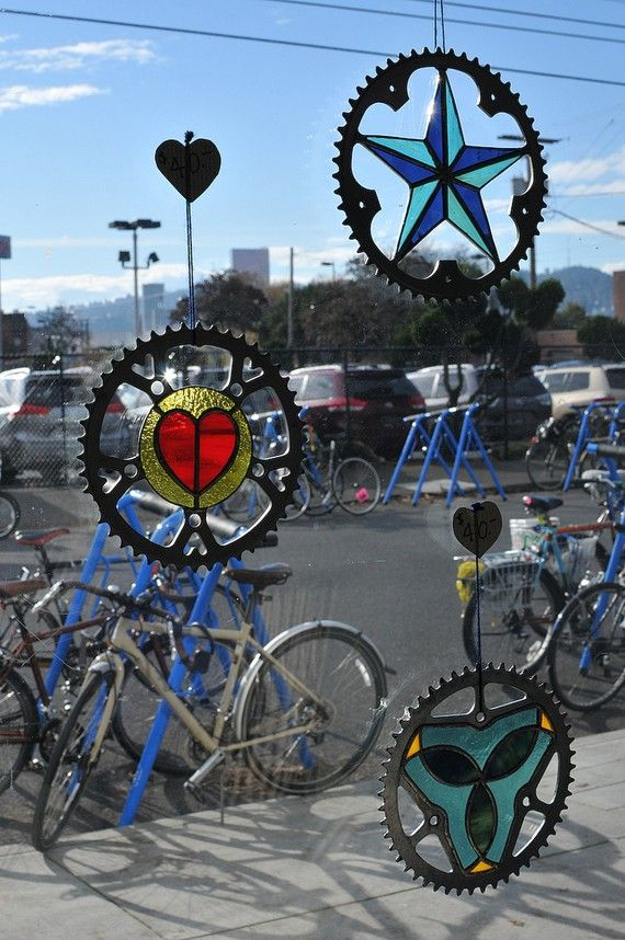 Bicycle sprocket stained glass