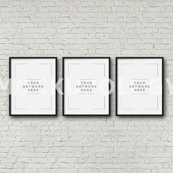 8x10 16x20 24x30 set of three vertical digital black frame mockup styled photography poster mockup white brick tryptich instant download
