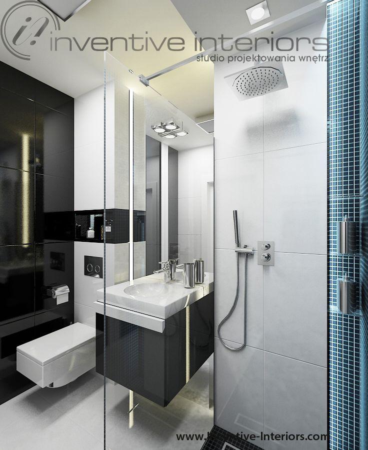 Projekt łazienki Inventive Interiors - męska łazienka biało czarna