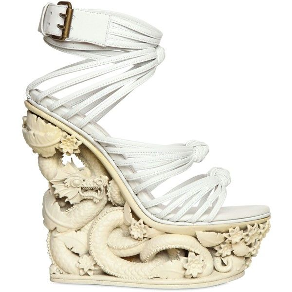 EMILIO PUCCI 150mm Dragon Resin And Calfskin Wedges ($3,449) ❤ liked on Polyvore featuring shoes, sandals, heels, wedges, white, wedge heel sandals, flower wedge sandals, heeled sandals, platform heel sandals and white heeled sandals