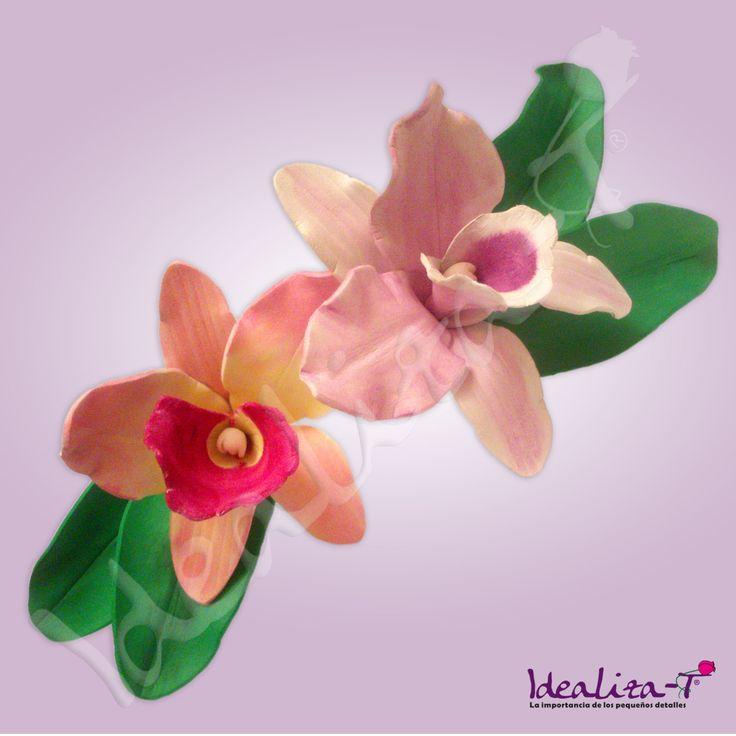 Orquideas realizadas en goma eva y pintadas a mano - Flore de goma eva ...