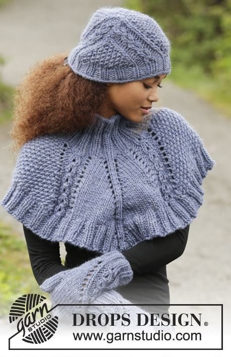 A Royal Embrace set consisting of hat, neck warmer and mittens by DROPS Design. Free knitting pattern