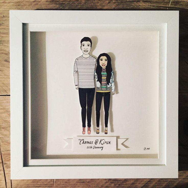 This one went to #Leicester This #couple are #celebrating their #anniversary #gift #giftideas #custommade #handmade #bespoke #personalised #paperdolls #chunkydumplingpaperdolls #etsy #brightonillustrator #illustration