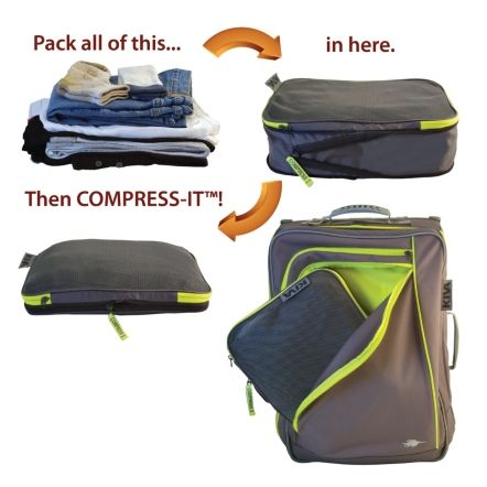 KIVA Small Compress-It Cube $15. This could help us cut down on suitcases, creating more car space