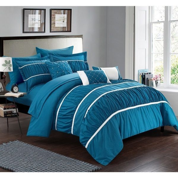 King Size Comforter Sheets Pillow Set Bed In A Bag 10 Piece Modern Teal Blue SALE $217.57 freeship