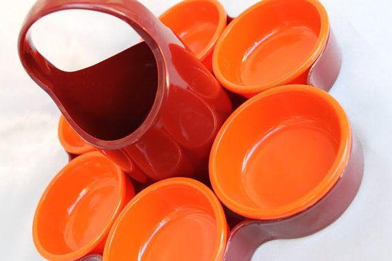70er Jahre Anbietschale Snackschale Schale Original EMSA weinrot und Orange wie neu Space Age Pop Design