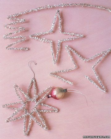 Tinsel Stars - These eight-pointed stars are made from glass beads and an old-fashioned type of tinsel called lametta.