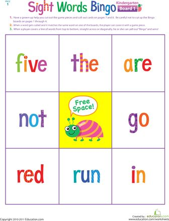 Worksheets: Kindergarten Sight Words Bingo