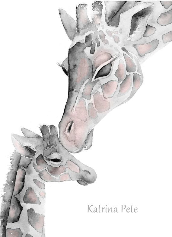 Blush Pink & Gray Giraffe mom and baby print by Katrina Pete  ******** 5x7,8x10 or 11x14 inch print of my watercolor painting. ********  This