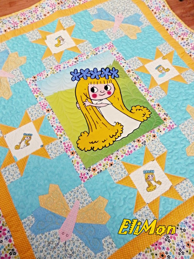 Baby quilt for litte girls....blue and yellow combination color