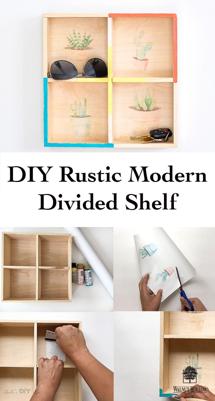 diy rustic modern divided shelf by walnut hollow