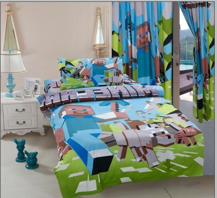 Minecraft twin bedding sets 100% cotton kids bed linen with duvet cover+flat sheet+pillow case