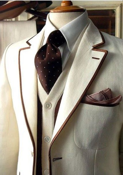 blouse ivory and brown tuxedo