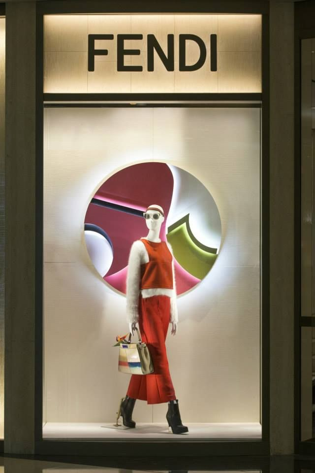 The Fendi FW15 collection displayed in the new boutique window theme at Plaza66 Shanghai.